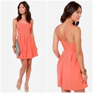 Lulu's Cage-ean Sea Coral Cage Neck Dress 280